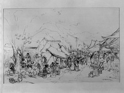 Ira Moskowitz (American, 1912-1985). <em>Market with Pulque Drinkers</em>, 1941. Pen and ink on paper, Sheet: 10 1/2 x 16 in. (26.7 x 40.6 cm). Brooklyn Museum, Gift of the artist, 41.1170. © artist or artist's estate (Photo: Brooklyn Museum, 41.1170_acetate_bw.jpg)