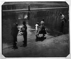 Adolf Fassbender (American, 1884-1980). <em>Passers-By</em>, ca. 1941. Gelatin silver photograph, 13 1/2 x 16 1/2 in. (34.3 x 41.9 cm). Brooklyn Museum, Gift of the artist, 41.385. © artist or artist's estate (Photo: Brooklyn Museum, 41.385_bw.jpg)