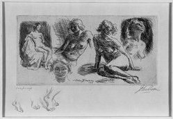 John Sloan (American, 1871-1951). <em>Nude Sketches</em>, 1917. Etching on wove paper, 14 1/4 x 19 5/16 in. (36.2 x 49 cm). Brooklyn Museum, Dick S. Ramsay Fund, 41.438. © artist or artist's estate (Photo: Brooklyn Museum, 41.438_acetate_bw.jpg)
