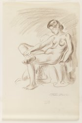 John Sloan (American, 1871-1951). <em>Nude on Chair, Legs Crossed</em>, ca. 1926-1938. Sanguine conte crayon on cream, thin, smooth wove paper, Sheet: 13 7/8 x 9 5/16 in. (35.2 x 23.7 cm). Brooklyn Museum, Dick S. Ramsay Fund, 41.440. © artist or artist's estate (Photo: Brooklyn Museum, 41.440_IMLS_PS3.jpg)