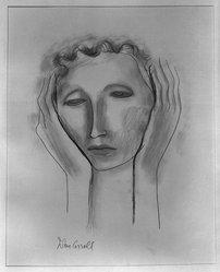 John Carroll (American, 1892-1959). <em>Head</em>, n.d. Graphite and charcoal on paper, sheet: 15 1/2 x 12 1/8 in. (39.4 x 30.8 cm). Brooklyn Museum, Dick S. Ramsay Fund, 41.510. © artist or artist's estate (Photo: Brooklyn Museum, 41.510_acetate_bw.jpg)