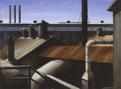 Edmund D. Lewandowski (American, 1914-1998). <em>Industrial Composition</em>, 1939. Watercolor over graphite on off-white, moderately thick, rough-textured wove paper, 21 15/16 x 29 15/16 in. (55.7 x 76 cm). Brooklyn Museum, Dick S. Ramsay Fund, 41.513. © artist or artist's estate (Photo: Brooklyn Museum, 41.513_cropped_SL1.jpg)