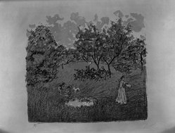 Pierre Bonnard (French, 1867-1947). <em>The Orchard (Le Verger)</em>, 1899. Color lithograph on China paper, Image: 13 1/8 x 14 1/8 in. (33.3 x 35.9 cm). Brooklyn Museum, By exchange, 41.973. © artist or artist's estate (Photo: Brooklyn Museum, 41.973_acetate_bw.jpg)