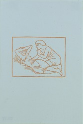 Aristide Maillol (French, 1861-1944). <em>[Untitled] (Daphnis Observes the Sleeping Chloe)</em>, 1937. Woodcut on handmade laid paper, Sheet: 7 11/16 x 5 1/8 in. (19.5 x 13 cm). Brooklyn Museum, Charles Stewart Smith Memorial Fund, 42.10.10. © artist or artist's estate (Photo: , 42.10.10_view01_PS12.jpg)