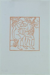 Aristide Maillol (French, 1861-1944). <em>[Untitled] (Daphnis Draws the Grasshopper from Chloe's Bosom)</em>, 1937. Woodcut on handmade laid paper, Sheet: 7 3/4 x 5 1/8 in. (19.7 x 13 cm). Brooklyn Museum, Charles Stewart Smith Memorial Fund, 42.10.11. © artist or artist's estate (Photo: , 42.10.11_view01_PS12.jpg)