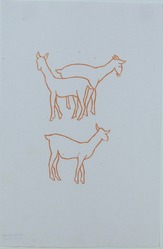 Aristide Maillol (French, 1861-1944). <em>[Untitled] (Three Goats)</em>, 1937. Woodcut on handmade laid paper, Sheet: 7 7/8 x 5 3/16 in. (20 x 13.2 cm). Brooklyn Museum, Charles Stewart Smith Memorial Fund, 42.10.2. © artist or artist's estate (Photo: , 42.10.2_view01_PS12.jpg)