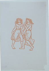 Aristide Maillol (French, 1861-1944). <em>[Untitled] (Two Nymphs Dancing)</em>, 1937. Woodcut on handmade laid paper, Sheet: 7 3/4 x 5 1/8 in. (19.7 x 13 cm). Brooklyn Museum, Charles Stewart Smith Memorial Fund, 42.10.3. © artist or artist's estate (Photo: , 42.10.3_view01_PS12.jpg)