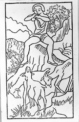 Aristide Maillol (French, 1861-1944). <em>[Untitled] (Daphnis Plays to His Goats)</em>, 1937. Woodcut on handmade laid paper, Sheet: 7 5/8 x 5 1/8 in. (19.4 x 13 cm). Brooklyn Museum, Charles Stewart Smith Memorial Fund, 42.10.41. © artist or artist's estate (Photo: Brooklyn Museum, 42.10.41_acetate_bw.jpg)