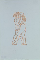 Aristide Maillol (French, 1861-1944). <em>[Untitled] (Chloe Kisses Daphnis)</em>, 1937. Woodcut on handmade laid paper, Sheet: 7 5/8 x 5 1/8 in. (19.4 x 13 cm). Brooklyn Museum, Charles Stewart Smith Memorial Fund, 42.10.7. © artist or artist's estate (Photo: , 42.10.7_view01_PS12.jpg)