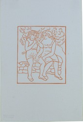 Aristide Maillol (French, 1861-1944). <em>[Untitled] (Daphnis Teaches Chloe to Play on the Pipe)</em>, 1937. Woodcut on handmade laid paper, Sheet: 7 3/4 x 5 3/16 in. (19.7 x 13.2 cm). Brooklyn Museum, Charles Stewart Smith Memorial Fund, 42.10.9. © artist or artist's estate (Photo: , 42.10.9_view01_PS12.jpg)