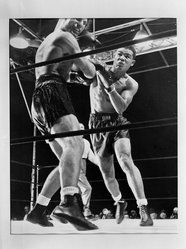 Joseph Costa (American, 1904-1988). <em>Knock-out Punch</em>, 1941. Gelatin silver photograph, sheet: 11 x 14 in. (27.9 x 35.6 cm). Brooklyn Museum, Gift of the artist, 42.127. © artist or artist's estate (Photo: Brooklyn Museum, 42.127_acetate_bw.jpg)