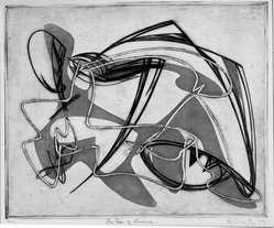 Stanley William Hayter (British, 1901-1988). <em>The Rape of Lucrece</em>, 1934. Etching, aquatint, engraving, and embossing on wove paper, 11 5/8 x 14 1/8 in. (29.5 x 35.8 cm). Brooklyn Museum, Augustus Graham School of Design Fund, 42.190. © artist or artist's estate (Photo: Brooklyn Museum, 42.190_acetate_bw.jpg)