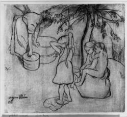 Suzanne Valadon (French, 1865-1938). <em>Bathers</em>, 1910. Drypoint on zinc on laid paper, 13 9/16 x 15 1/16 in. (34.5 x 38.2 cm). Brooklyn Museum, Henry L. Batterman Fund, 42.229. © artist or artist's estate (Photo: Brooklyn Museum, 42.229_acetate_bw.jpg)