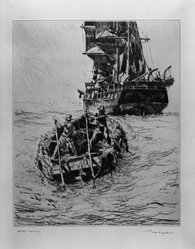 Phillip Kappel (American, 1901-1981). <em>Off Shore - West Indies</em>, 20th century. Drypoint on white laid paper, Sheet: 15 1/4 x 11 3/8 in. (38.7 x 28.9 cm). Brooklyn Museum, Gift of A. Edward Scherr, Jr., 42.276. © artist or artist's estate (Photo: Brooklyn Museum, 42.276_acetate_bw.jpg)