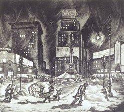 Hugh Pearce Botts (American, 1903-1964). <em>Columbus Circle</em>, ca. 1940. Aquatint and etching on wove paper, Plate: 8 11/16 x 9 13/16 in. (22.1 x 25 cm). Brooklyn Museum, Anonymous gift, 42.333. © artist or artist's estate (Photo: Brooklyn Museum, 42.333_transp1579.jpg)