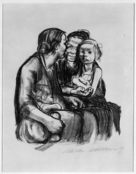 Käthe Kollwitz (German, 1867-1945). <em>Two Chatting Women with Two Children (Zwei schwatzende Frauen mit zwei Kindern)</em>, 1930. Lithograph on heavy wove paper, Image: 11 5/8 x 10 1/8 in. (29.5 x 25.7 cm). Brooklyn Museum, Ella C. Woodward Memorial Fund, 42.389. © artist or artist's estate (Photo: Brooklyn Museum, 42.389_bw_IMLS.jpg)