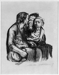 Käthe Kollwitz (German, 1867-1945). <em>Two Chatting Women with Two Children (Zwei schwatzende Frauen mit zwei Kindern)</em>, 1930. Lithograph on heavy wove paper, Image: 11 5/8 x 10 1/8 in. (29.5 x 25.7 cm). Brooklyn Museum, Ella C. Woodward Memorial Fund, 42.389. © artist or artist's estate (Photo: Brooklyn Museum, 42.389_bw_IMLS.jpg)