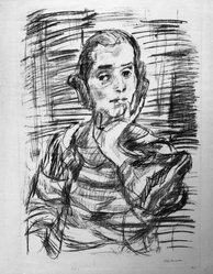 Oskar Kokoschka (Austrian, 1886-1980). <em>The Concert III (Ruth I) (Das Konzert III [Ruth I])</em>, 1921. Transfer lithograph on heavy laid paper, Image: 27 1/8 x 19 5/8 in. (68.9 x 49.8 cm). Brooklyn Museum, Frederick Loeser Fund, 42.51. © artist or artist's estate (Photo: Brooklyn Museum, 42.51_bw_IMLS.jpg)