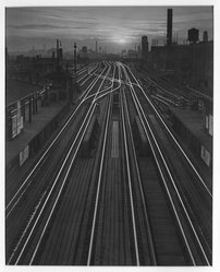Ken Uyehara (American). <em>Shining Rails</em>, early 20th century. Gelatin silver photograph, Sheet: 14 x 11 in. (35.6 x 27.9 cm). Brooklyn Museum, Gift of the artist, 42.65 (Photo: Brooklyn Museum, 42.65_bw.jpg)