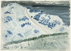 Milton Avery (American, 1885-1965). <em>Road to the Sea</em>, ca. 1938. Transparent watercolor with small touches of opaque watercolor over charcoal on off-white, moderately thick, rough-textured wove paper, 22 1/2 x 30 5/8 in. (57.2 x 77.8 cm). Brooklyn Museum, Dick S. Ramsay Fund, 43.104. © artist or artist's estate (Photo: Brooklyn Museum, 43.104_SL1.jpg)
