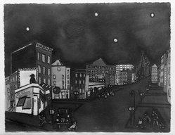 De Hirsh Margules (American, 1899-1965). <em>Dim-Out</em>. Watercolor, 20 1/4 x 26 3/16 in. (51.5 x 66.5 cm). Brooklyn Museum, Dick S. Ramsay Fund, 43.105. © artist or artist's estate (Photo: Brooklyn Museum, 43.105_acetate_bw.jpg)