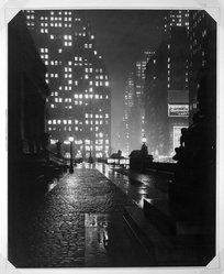 John W. Doscher (American). <em>Evening Mist- Fifth Avenue</em>, ca. 1943. Photograph Brooklyn Museum, Gift of the artist, 43.14. © artist or artist's estate (Photo: Brooklyn Museum, 43.14_bw.jpg)