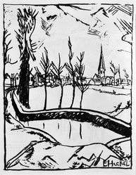 Erich Heckel (German, 1883-1970). <em>Near Ghent (Bei Ghent)</em>, 1916. Lithograph on wove paper, Image: 10 1/2 x 8 1/8 in. (26.7 x 20.6 cm). Brooklyn Museum, Gift of J. B. Neumann, 43.161.1. © artist or artist's estate (Photo: Brooklyn Museum, 43.161.1_bw_IMLS.jpg)