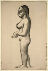 Pablo Picasso (Spanish, 1881-1973). <em>Nude Standing in Profile (Nu debout en profil)</em>, 1906. Charcoal on laid paper, sheet: 21 1/8 x 14 1/4 in. (53.7 x 36.2 cm). Brooklyn Museum, Gift of Arthur Wiesenberger, 43.178. © artist or artist's estate (Photo: Brooklyn Museum, 43.178_SL1.jpg)