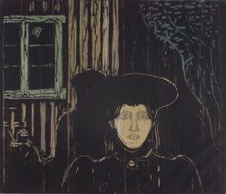 Edvard Munch (Norwegian, 1863-1944). <em>Moonlight (Mondschein)</em>, 1896. Color woodcut on laid paper, image: 15 15/16 × 18 1/2 in. (40.5 × 47 cm). Brooklyn Museum, Carll H. de Silver Fund, 43.18. © artist or artist's estate (Photo: Brooklyn Museum, 43.18.jpg)