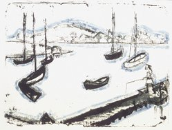 Erich Heckel (German, 1883-1970). <em>Harbor (Hafen)</em>, 1912. Color lithograph in blue, green, and black on heavy wove paper, Image: 12 5/8 x 17 in. (32.1 x 43.2 cm). Brooklyn Museum, By exchange, 43.182. © artist or artist's estate (Photo: Brooklyn Museum, 43.182_transp1607.jpg)