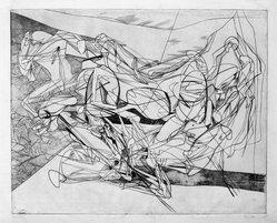 Stanley William Hayter (British, 1901-1988). <em>Combat, Seventh State</em>, 1936. Engraving, Other (Plate): 15 3/4 x 19 3/8in. (40 x 49.2cm). Brooklyn Museum, By exchange, 43.238.10. © artist or artist's estate (Photo: Brooklyn Museum, 43.238.10_bw.jpg)