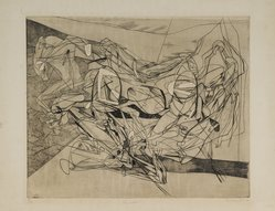 Stanley William Hayter (British, 1901-1988). <em>Combat, Eighth State</em>, 1936. Engraving, soft ground etching, Other (Plate): 15 3/4 x 19 3/8in. (40 x 49.2cm). Brooklyn Museum, By exchange, 43.238.11. © artist or artist's estate (Photo: Brooklyn Museum, 43.238.11_PS1.jpg)