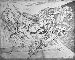 Stanley William Hayter (British, 1901-1988). <em>Combat</em>, 1936. Engraved copper plate on handmade, laid and wove papers, 15 11/16 x 19 5/16 in. (39.9 x 49 cm). Brooklyn Museum, By exchange, 43.238.1. © artist or artist's estate (Photo: Brooklyn Museum, 43.238.1_acetate_bw.jpg)