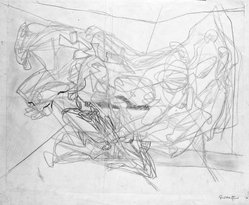 Stanley William Hayter (British, 1901-1988). <em>Combat</em>, 1936. Drawing in pencil and crayon on wove paper, 15 3/8 x 19 3/16 in. (39 x 48.7 cm). Brooklyn Museum, By exchange, 43.238.3. © artist or artist's estate (Photo: Brooklyn Museum, 43.238.3_cropped_bw.jpg)