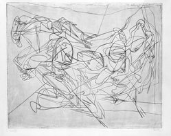 Stanley William Hayter (British, 1901-1988). <em>Combat, Third State</em>, 1936. Engraving, Other (Plate): 15 3/4 x 19 3/8in. (40 x 49.2cm). Brooklyn Museum, By exchange, 43.238.6. © artist or artist's estate (Photo: Brooklyn Museum, 43.238.6_bw.jpg)