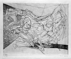 Stanley William Hayter (British, 1901-1988). <em>Combat, Fourth State</em>, July 28, 1936. Engraving, Other (Plate): 15 3/4 x 19 3/8in. (40 x 49.2cm). Brooklyn Museum, By exchange, 43.238.7. © artist or artist's estate (Photo: Brooklyn Museum, 43.238.7_bw.jpg)