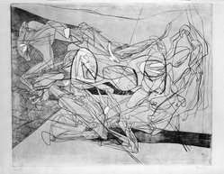 Stanley William Hayter (British, 1901-1988). <em>Combat,  Fifth State</em>, 1936. Engraving, Other (Plate): 15 3/4 x 19 3/8in. (40 x 49.2cm). Brooklyn Museum, By exchange, 43.238.8. © artist or artist's estate (Photo: Brooklyn Museum, 43.238.8_bw.jpg)