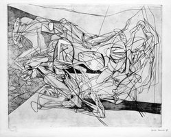 Stanley William Hayter (British, 1901-1988). <em>Combat, Sixth State</em>, November 15, 1936. Engraving, Other (Plate): 15 3/4 x 19 3/8in. (40 x 49.2cm). Brooklyn Museum, By exchange, 43.238.9. © artist or artist's estate (Photo: Brooklyn Museum, 43.238.9_bw.jpg)