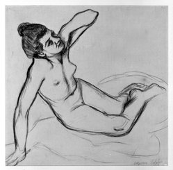 Suzanne Valadon (French, 1865-1938). <em>Nude</em>, 1908. Charcoal on laid paper, Sheet: 16 5/8 x 16 3/4 in. (42.2 x 42.5 cm). Brooklyn Museum, Carll H. de Silver Fund, 44.125.1. © artist or artist's estate (Photo: Brooklyn Museum, 44.125.1_bw.jpg)