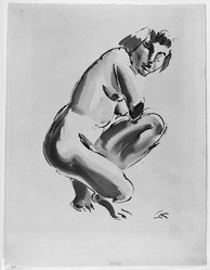 Georg Kolbe (German, 1877-1947). <em>Nude, Half Kneeling</em>, n.d. Sepia ink and wash on wove paper, Sheet: 19 x 14 3/8 in. (48.3 x 36.5 cm). Brooklyn Museum, Carll H. de Silver Fund, 44.125.4. © artist or artist's estate (Photo: Brooklyn Museum, 44.125.4_bw.jpg)