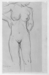 Charles Despiau (French, 1874-1946). <em>Nude Figure, Standing</em>. Graphite on wove paper, 14 1/8 x 9 1/8 in. Brooklyn Museum, Carll H. de Silver Fund, 44.125.5. © artist or artist's estate (Photo: Brooklyn Museum, 44.125.5_bw.jpg)