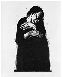 Käthe Kollwitz (German, 1867-1945). <em>The Widow I (Die Witwe I)</em>, 1922-1923. Woodcut in black ink on wove paper, image: 18 3/4 × 14 9/16 in. (47.6 × 37 cm). Brooklyn Museum, Carll H. de Silver Fund, 44.201.4. © artist or artist's estate (Photo: Brooklyn Museum, 44.201.4_SL3.jpg)