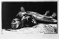 Käthe Kollwitz (German, 1867-1945). <em>The Widow II (Die Witwe II)</em>, 1922-1923. Woodcut in black ink on beige, moderately thick, smooth, wove paper, image: 11 7/8 × 20 7/8 in. (30.2 × 53 cm). Brooklyn Museum, Carll H. de Silver Fund, 44.201.5. © artist or artist's estate (Photo: Brooklyn Museum, 44.201.5_bw_IMLS.jpg)