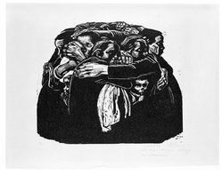 Käthe Kollwitz (German, 1867-1945). <em>The Mothers (Die Mütter)</em>, 1922-1923. Woodcut in black ink on beige, moderately thick, smooth, wove paper, image: 13 7/8 × 15 3/4 in. (35.2 × 40 cm). Brooklyn Museum, Carll H. de Silver Fund, 44.201.6. © artist or artist's estate (Photo: Brooklyn Museum, 44.201.6_SL3.jpg)