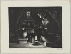 Leo Katz (American, 1887-1992). <em>Patzcuaro Nocturne 1</em>, 1943. Lithograph on wove paper, Image: 9 3/4 x 12 11/16 in. (24.7 x 32.3 cm). Brooklyn Museum, Anonymous gift, 44.44.3. © artist or artist's estate (Photo: Brooklyn Museum, 44.44.3_PS4.jpg)