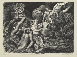 Leo Katz (American, 1887-1992). <em>Is This the Meaning of Life?</em>, 1937. Lithograph on wove paper, Image: 18 x 13 3/16 in. (45.7 x 33.5 cm). Brooklyn Museum, Anonymous gift, 44.44.4. © artist or artist's estate (Photo: Brooklyn Museum, 44.44.4_PS4.jpg)