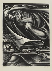 Leo Katz (American, 1887-1992). <em>Father Chronos Marches On</em>, 1940. Lithograph, Sheet: 23 3/4 x 15 3/4 in. (60.4 x 40 cm). Brooklyn Museum, Anonymous gift, 44.44.7. © artist or artist's estate (Photo: Brooklyn Museum, 44.44.7_PS4.jpg)