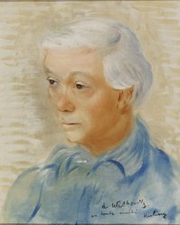 Moise Kisling (American, 1891-1953). <em>Portrait of Abraham Walkowitz</em>, ca. 1944. Oil, 16 1/4 x 13 in. (41.3 x 33 cm). Brooklyn Museum, Gift of Abraham Walkowitz, 44.67. © artist or artist's estate (Photo: Brooklyn Museum, 44.67.jpg)