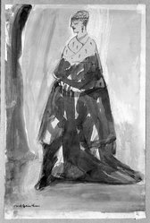 Carl Sprinchorn (American, 1887-1971). <em>Standing Woman</em>, 20th century. Watercolor, Image: 11 1/4 x 6 3/4 in. (28.5 x 17.1 cm). Brooklyn Museum, Gift of Ettie Stettheimer, 45.116. © artist or artist's estate (Photo: Brooklyn Museum, 45.116_bw.jpg)