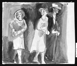 Carl Sprinchorn (American, 1887-1971). <em>Three Figures</em>, 20th century. Watercolor, Image: 11 7/8 x 11 7/16 in. (30.2 x 29 cm). Brooklyn Museum, Gift of Ettie Stettheimer, 45.119. © artist or artist's estate (Photo: Brooklyn Museum, 45.119_bw.jpg)
